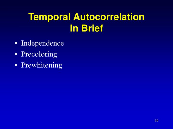 Temporal Autocorrelation