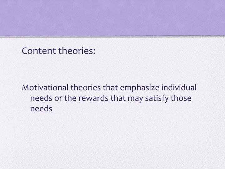 Content theories: