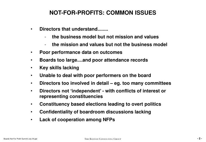 NOT-FOR-PROFITS: COMMON ISSUES
