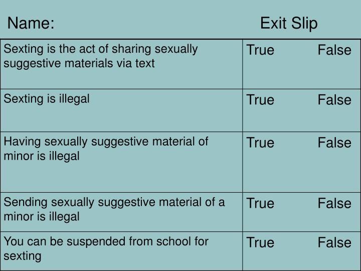 Name:Exit Slip