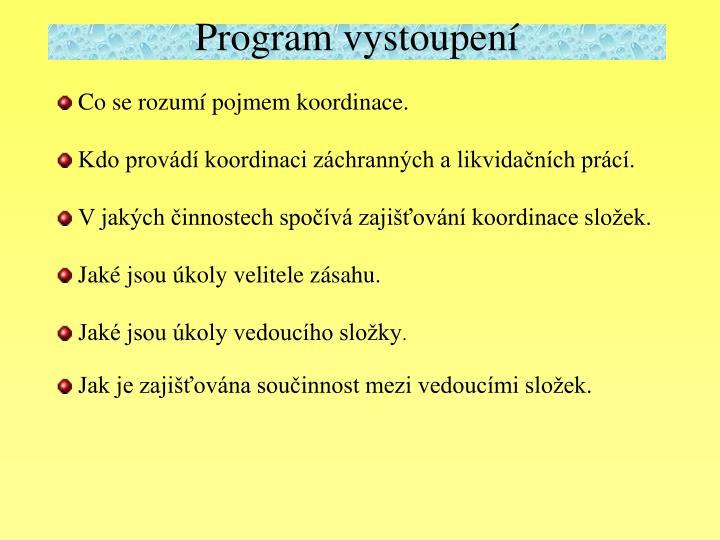 Program vystoupení
