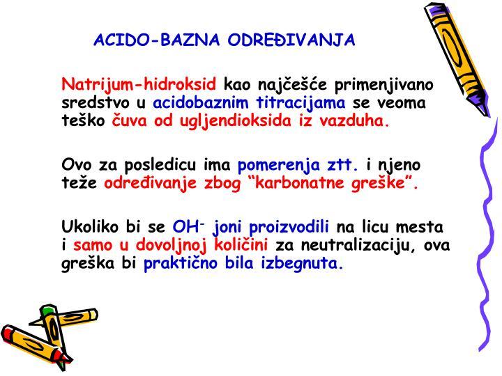 ACIDO-BAZNA ODRE