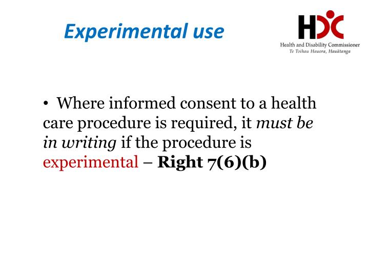 Experimental use