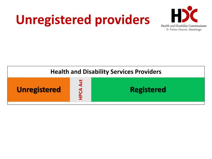 Unregistered providers