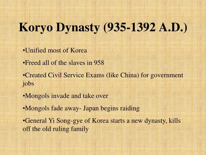 Koryo Dynasty (935-1392 A.D.)