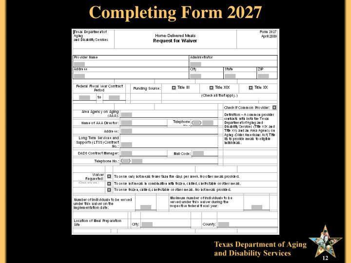 Completing Form 2027