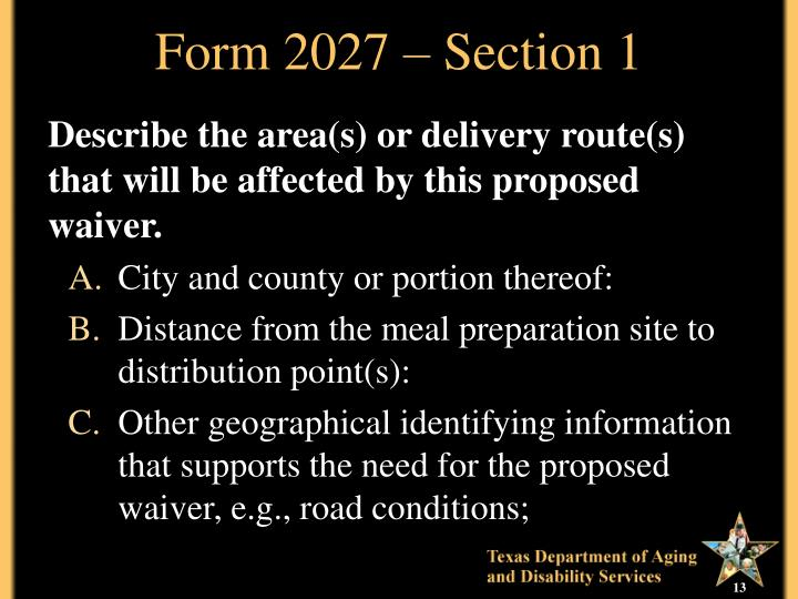 Form 2027 – Section 1