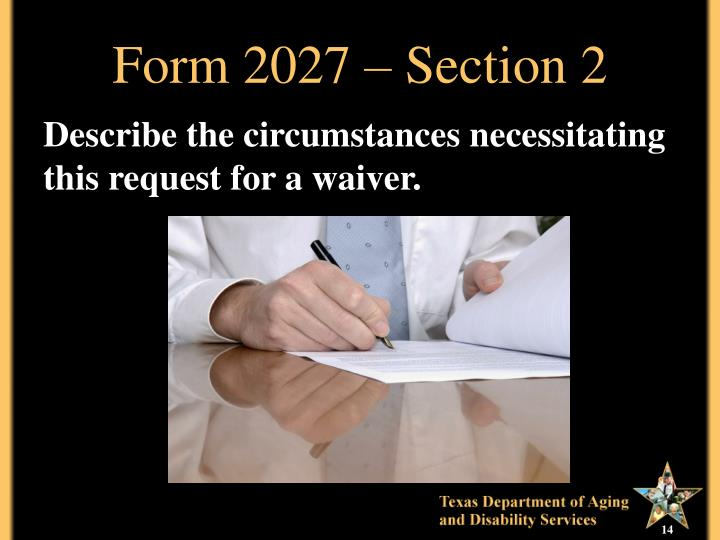Form 2027 – Section 2