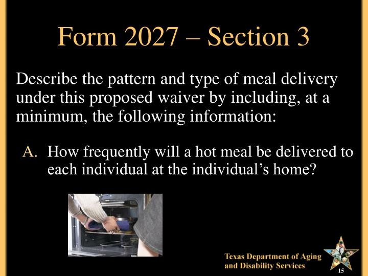 Form 2027 – Section 3