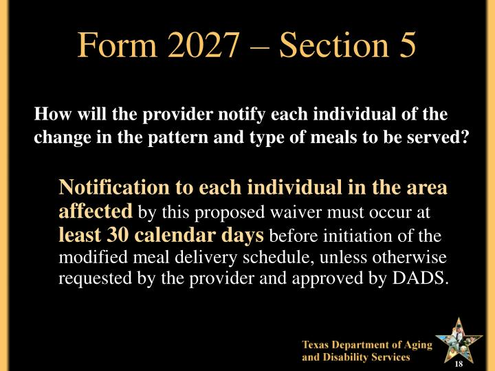 Form 2027 – Section 5