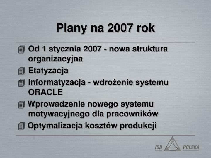 Plany na 2007 rok