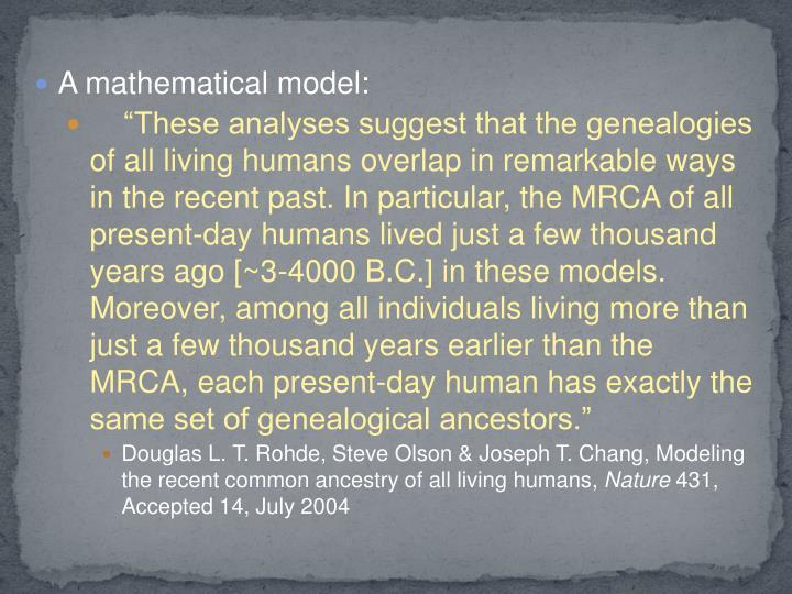 A mathematical model: