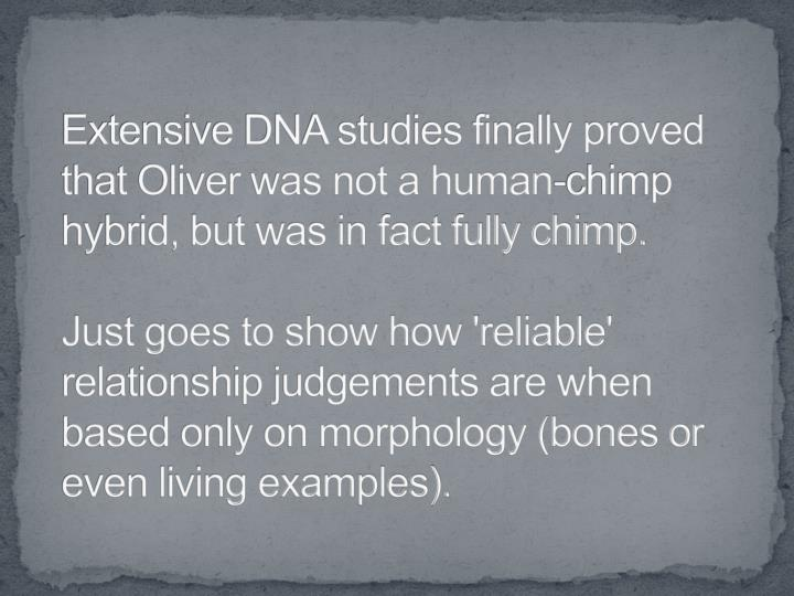 Extensive DNA studies finally proved