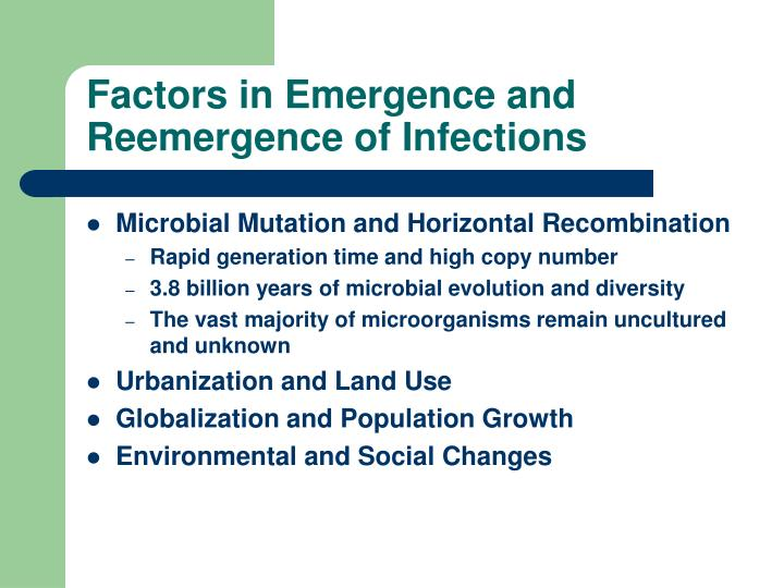 Factors in Emergence and Reemergence of Infections