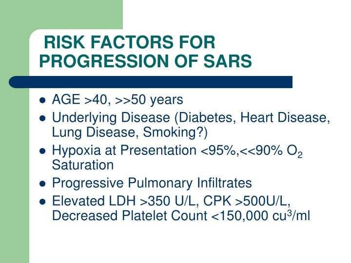 RISK FACTORS FOR PROGRESSION OF SARS