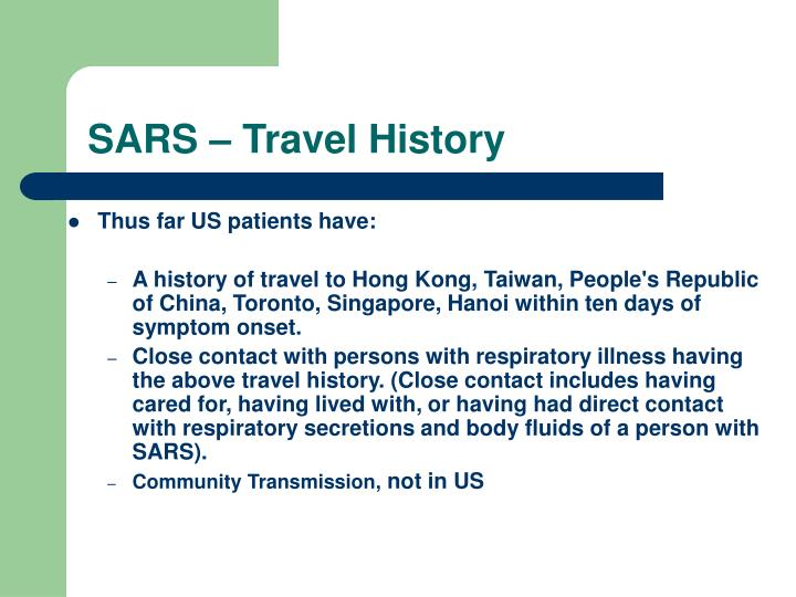 SARS – Travel History
