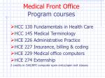 medical front office program courses
