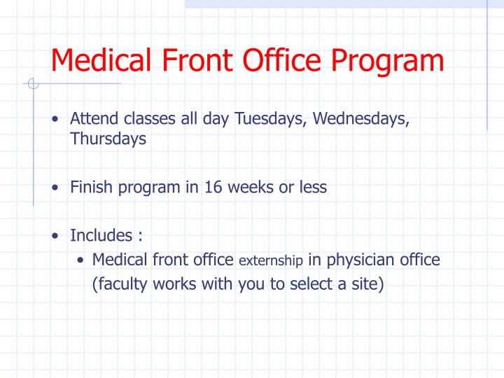 Medical Front Office Program
