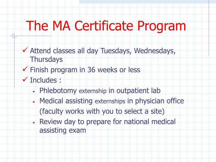 The MA Certificate Program