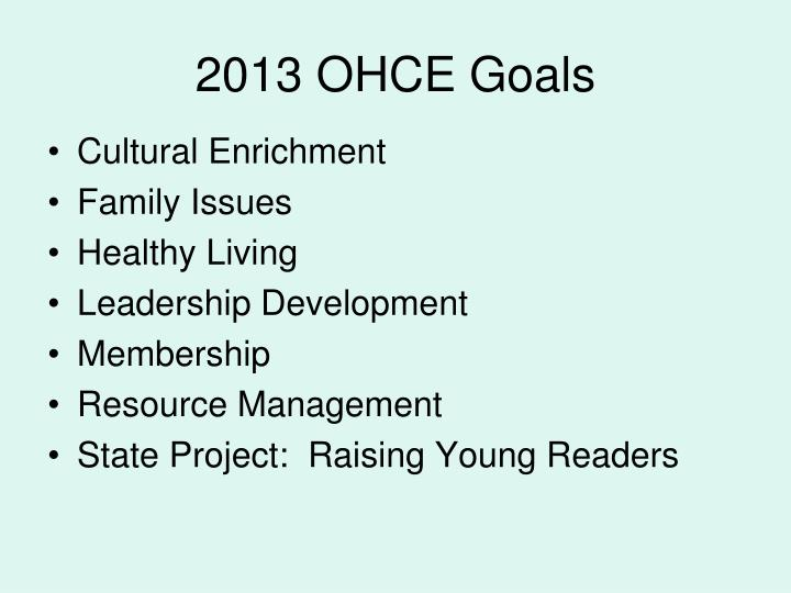 2013 OHCE Goals