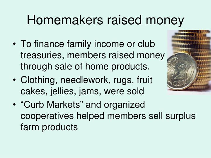 Homemakers raised money