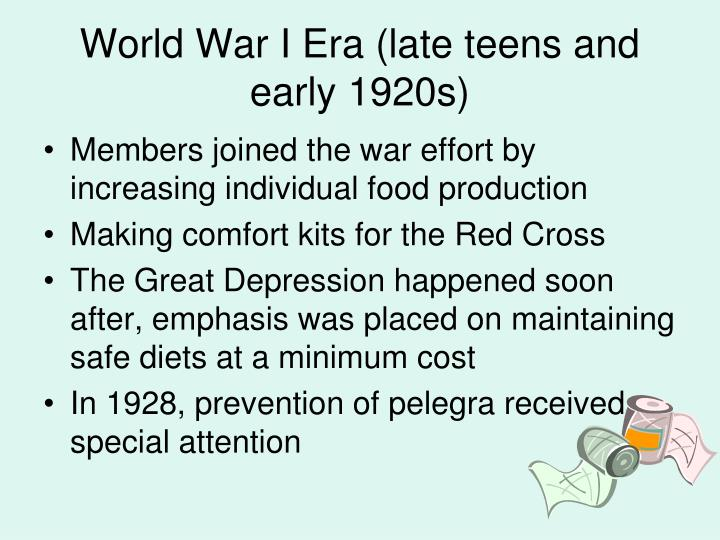 World War I Era (late teens and early 1920s)