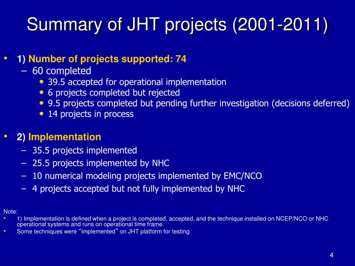Summary of JHT projects (2001-2011)