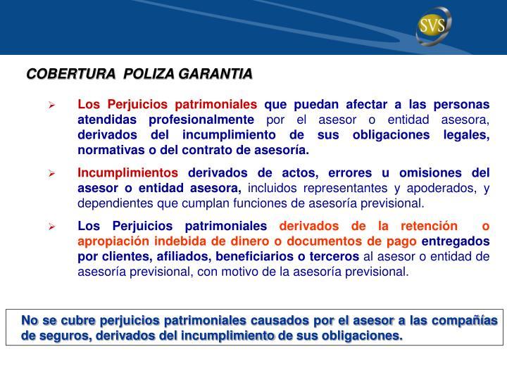 COBERTURA  POLIZA GARANTIA