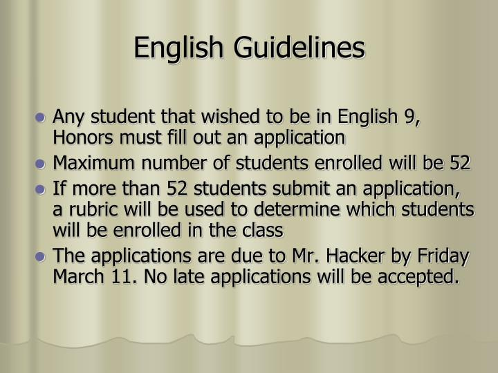 English Guidelines