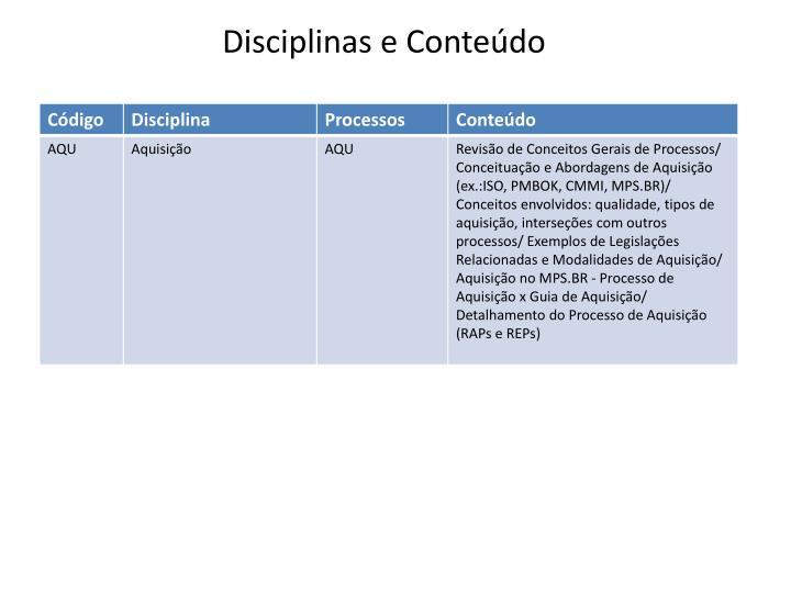 Disciplinas e Conteúdo