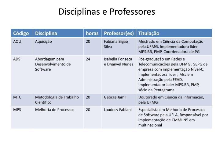 Disciplinas e Professores