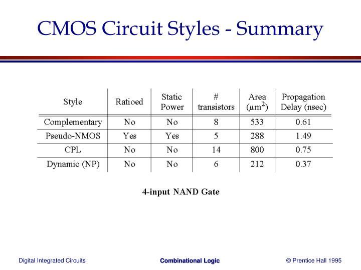 CMOS Circuit Styles - Summary