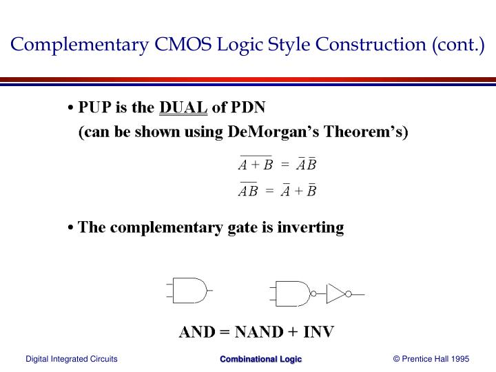 Complementary CMOS Logic Style Construction (cont.)