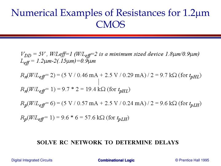 Numerical Examples of Resistances for 1.2