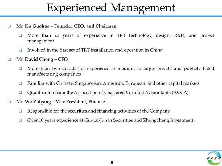 Experienced Management