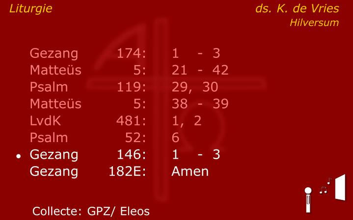 Liturgie ds. K. de Vries