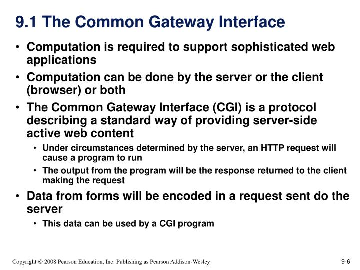 9.1 The Common Gateway Interface