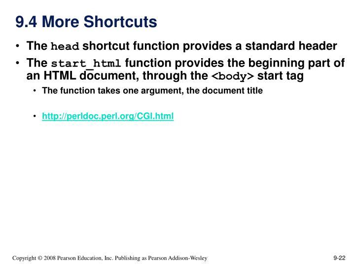 9.4 More Shortcuts