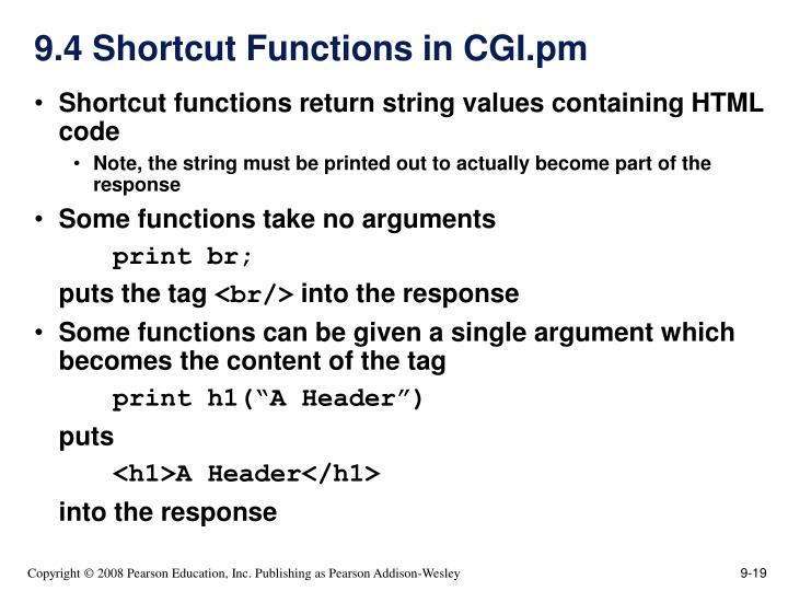 9.4 Shortcut Functions in CGI.pm