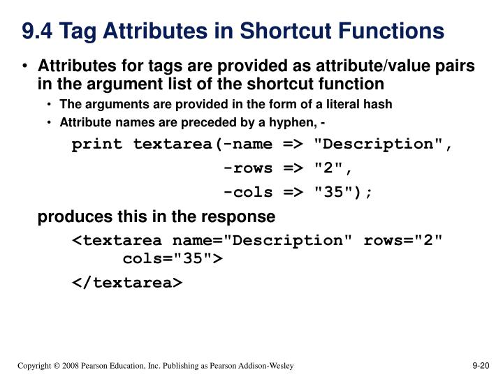 9.4 Tag Attributes in Shortcut Functions