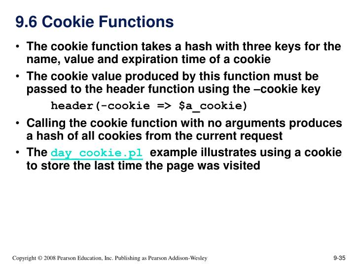 9.6 Cookie Functions