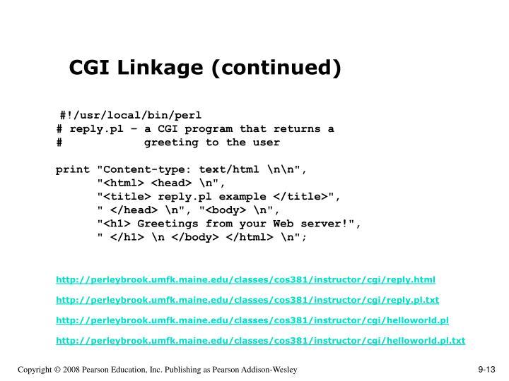 CGI Linkage (continued)