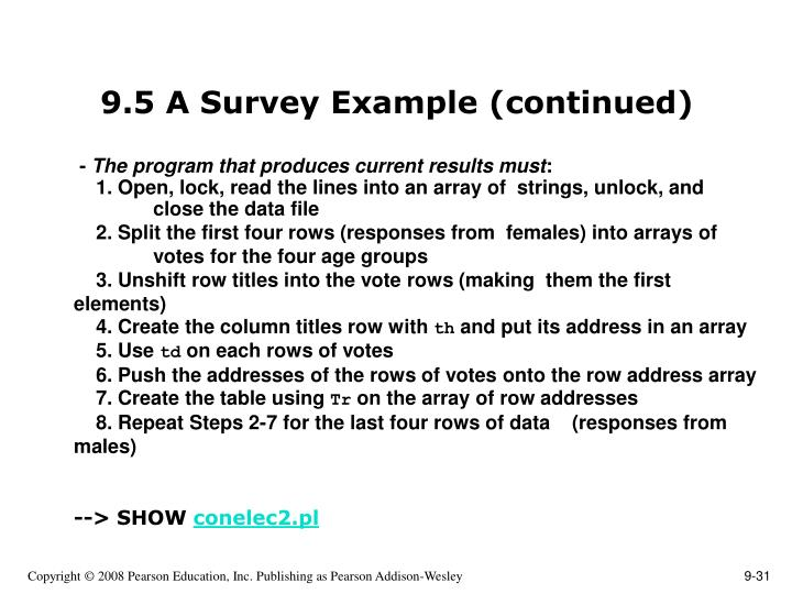 9.5 A Survey Example (continued)