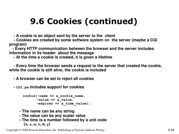 9.6 Cookies (continued)
