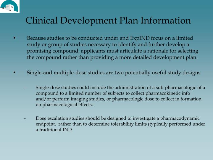 Clinical Development Plan Information