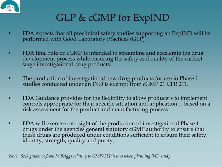 GLP & cGMP for ExpIND