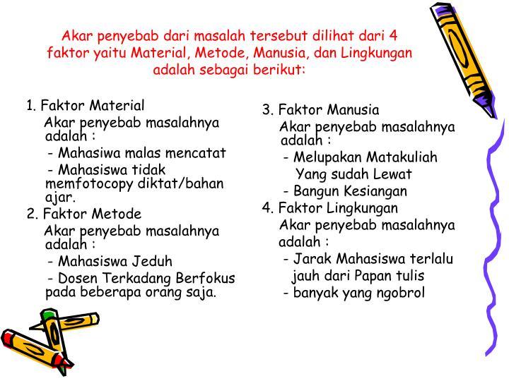 1. Faktor Material