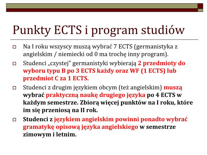 Punkty ECTS i program studiów