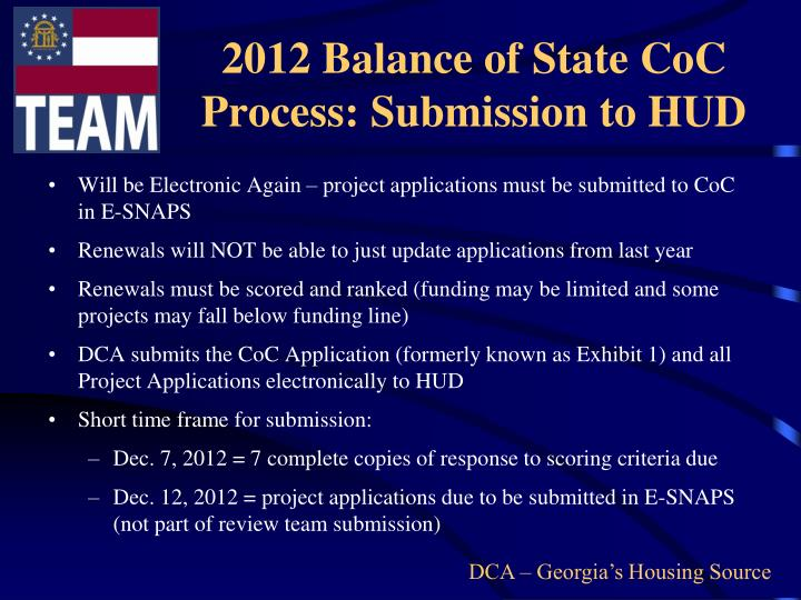 2012 Balance of State CoC Process: Submission to HUD