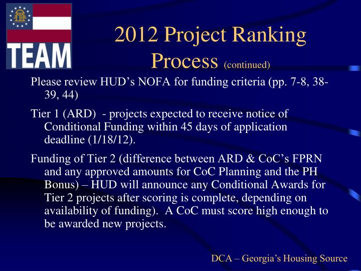 2012 Project Ranking Process